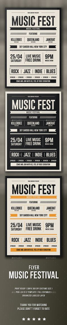 Music Fest Flyer Template PSD, Vector AI. Download here: http://graphicriver.net/item/music-fest-flyer/15449476?ref=ksioks