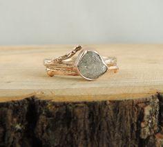 Uncut Diamond Engagement Ring, 14k Rose Gold Branch Engagement Ring on Etsy, $900.00