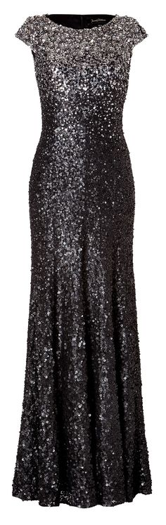 Jenny Packham Gray Sequined Gown In Gunmetalel Toro. Wouldn't it be awesome if I had a place to wear it and the money to buy it!