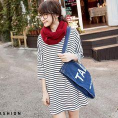 Tokyo Fashion - 3/4-Sleeve Striped T-Shirt Dress