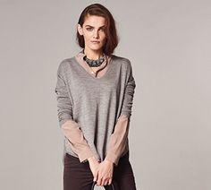 Oersized V-Neck Sweater #heathered #new-style #oversized #rounded-seam #soft-grey #v-neck