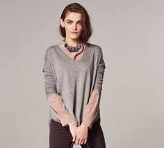 Oersized V-Neck Sweater #heathered #new-style #oversized #rounded-seam #soft-grey #v-neck