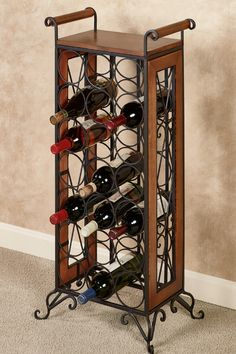Old World charm and traditional styling create the elegant Milano Wine Bottle Rack. Made of metal and wood, this furnishing displays up to 21 bottles.