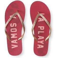 Aeropostale Vamos A La Playa Flip-Flop ($8) ❤ liked on Polyvore featuring shoes, sandals, flip flops, fuschia berry, strap shoes, berry shoes, beach flip flops, aeropostale flip flops and fuchsia shoes