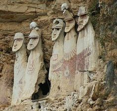The Cloud People, Los Pinchudos, Peru. These carved mahogany statues have stood for centuries in a stone-and-plaster complex of nine tombs built into a high rock cleft in one of Peru's northern cloud forests Ancient Mysteries, Ancient Ruins, Ancient Artifacts, Ancient History, Unexplained Mysteries, Machu Picchu, Equador, Thinking Day, Iquitos