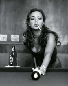 Leah Remini - A beer, a woman and a pool table. It doesn't get any better than that.