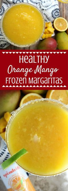 Looking for a refreshing, delicious summer drink? Try these Healthy Orange Mango Frozen Margaritas! The perfect summer happy hour drink to cool off with.