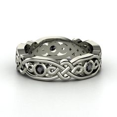14K White Gold Ring with Black Diamond - lay_down