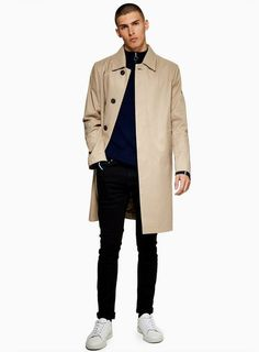 5e771ba8ee7d Stone Single Breasted Trench Coat - TOPMAN USA Rain Trench Coat, Dress  Silhouette, Men's
