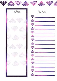 PB and J Studio: Free Printable Planner Inserts | GALAXY DIAMOND Week on 2 pages | a5 a6 Personal Large Medium