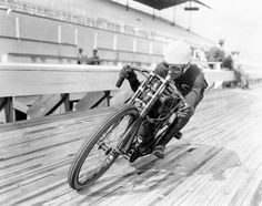 """""""When the board track racers of the 1910's would crash at over 90mph on a wooden racetrack they risked being shredded and impaled by splinters from the…"""""""