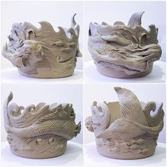 Mermaid yarn bowl. New design glazed and for sale in earthwoolfire.etsy.com in three weeks. #yarn #yarnbowl #wip #wool #knit #knitting #yarnporn #fibreart #ceramicart #ceramic #ceramicartist #clay #creative #crochet #mermaid #seacreature #mythicalcreature #earthenware #earthwoolfire #earthwoolfirepottery #unfired #forsale #cool #amazing #my #face #new