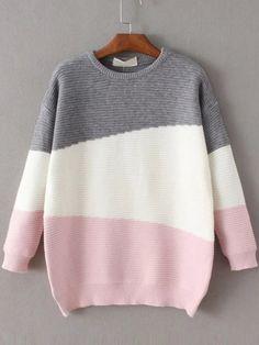 Color Block Ribbed Drop Shoulder Sweater