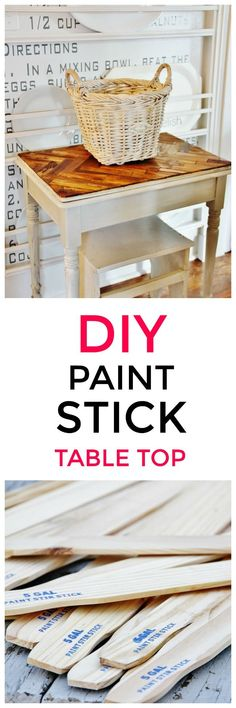 Looking to create a paint stick table top? This amazing herringbone design is easy to recreate and adds a fantastic change to old furniture. #diyhomedecor #diyfurniture #furnituremakeover #upcycle #recycle #beforeandafter #beforeafter #table #paintedfurniture