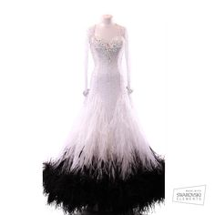 white and black feather ballroom dance dress