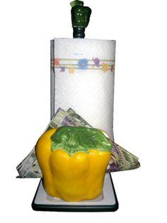 Yellow Bell Pepper decor | BELL PEPPER YELLOW PAPER TOWEL HOLDER,& NAPKING HOLDER