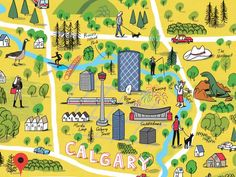 You are here: Calgary illustrators map their city Walking Map, Map Projects, Island Park, Inspiring Things, Us Map, Calgary, Planner Stickers, Childhood Memories, Illustrators