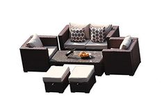 Yakoe Monaco 6 Seater Rattan Garden Furniture Patio Conservatory Sofa Set with Coffee Table Chairs and Stools
