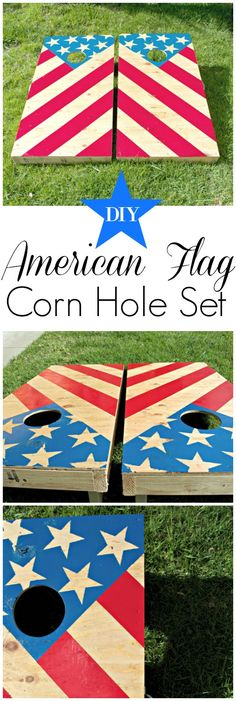 Celebrate of July with this easy DIY American Flag corn hole set -- the perfect addition to your backyard party games! Cornhole Designs, Cornhole Board Plans, Cornhole Set, 4th Of July Games, Fourth Of July, Backyard Party Games, Backyard Ideas, Outdoor Ideas, Outdoor Play