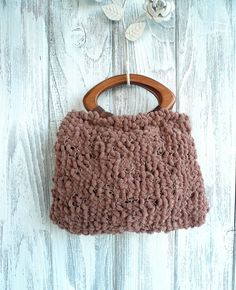 SALE Brown knitted pom purse with silky lining and wooden handles