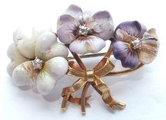 Antique 14k Solid Gold Enamel Diamond Pansy Flower Brooch