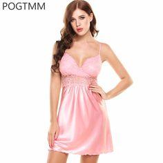 8e402fe02ac Summer Nightgown Women Sexy V-Neck Floral Lace Satin Sleepwear Female  Hollow Short Sleep Dress