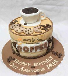 Brilliant Photo of Coffee Birthday Cake . Coffee Birthday Cake Coffee Wedding Cakes Merry Go Round Cupcakes Cakes Coffee Themed Birthday Cakes, Themed Cakes, 60th Birthday, Birthday Ideas, Happy Birthday, Fancy Cakes, Cute Cakes, Wedding Cakes With Cupcakes, Cupcake Cakes