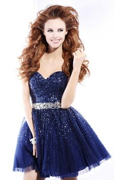 Charming Royal Blue Sweetheart Sequin Rhinestone Tulle dress. I wanttt for prom. <3