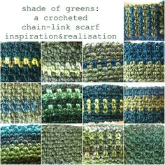 crocheted chain link scarf - all these combinations, one stitch