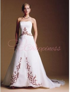 Strapless A Line Princess Chapel Train Satin Wedding Dress