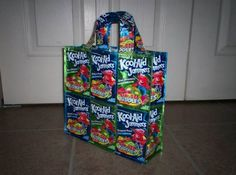 Reuse drink pounches for a cute tote - might be a good summer craft project for the kids