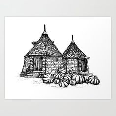 Hagrid's Hut Art Print by Wildwither - X-Small Harry Potter Props, Harry Potter Artwork, Harry Potter Drawings, Harry Potter Tattoos, Harry Potter Love, Hagrids Hut, Black Tattoos, Small Tattoos, Tattoos For Guys