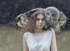 front view + girl with owl