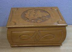 Vintage Wood Carved Box Oak #BQ