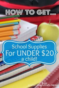 Use these tips to get school supplies for less than $20 per child! That's a mom-savvy solution.
