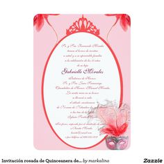Invitación rosada de Quinceanera de la máscara (Quinceanera Invitations) Spa Weekend, Zazzle Invitations, Invites, Retirement Parties, Quinceanera, White Envelopes, Rsvp, Birthdays, Paper