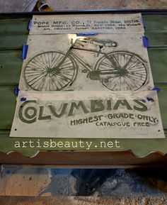 "ART IS BEAUTY: Vintage ""COLUMBIAS"" Bicycle Dresser Makeover."