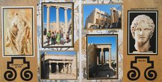 Athens travel scrapbook 2 page layout of the Acropolis with Greek key swirls from Cricut's Picturesque - from Travel Album 10 - Athens, Greece