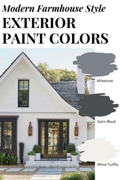 Modern Farmhouse Style Paint Colors Painting your home's exterior? Use one of these modern farmhouse style exterior paint color combinations! These are the perfect colors for a modern farmhouse style. Farmhouse Exterior Colors, White Exterior Paint, Farmhouse Paint Colors, Exterior Paint Colors For House, Paint Colors For Home, Outside House Paint Colors, Painting Outside Of House, Stucco Colors, Exterior Paint Color Combinations