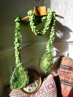 hand knitted crochet green scarflariat for the by lamamadesmatous, $50.00