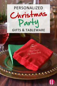 Custom Christmas party tableware, gifts, and supplies like napkins, cups, plates, boxes, and more.  Makes for easy cleanup and a cute addition to holiday party decorations.  See more at http://www.tippytoad.com/christmas.asp