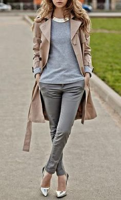 trench + gray neutrals