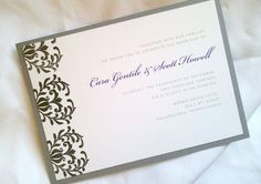 Vintage Chic Garden Style Wedding Invitation Set, Purple and Gray, Garden Party, Stationery and Party, Hand-Stamped Invite