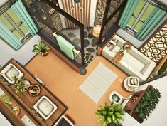 The Sims 4 Pc, Sims Cc, Casas The Sims 4, Tropical Bathroom, Sims House Design, Sims Building, Sims Ideas, Sims 4 Build, Sims 4 Cc Finds