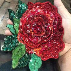 Likes, 10 Comments - ВЫШИВКА & ДИЗАЙН Leather Embroidery, Tambour Embroidery, Bead Embroidery Patterns, Hand Work Embroidery, Rose Embroidery, Embroidery Fashion, Hand Embroidery Designs, Tambour Beading, Beaded Banners