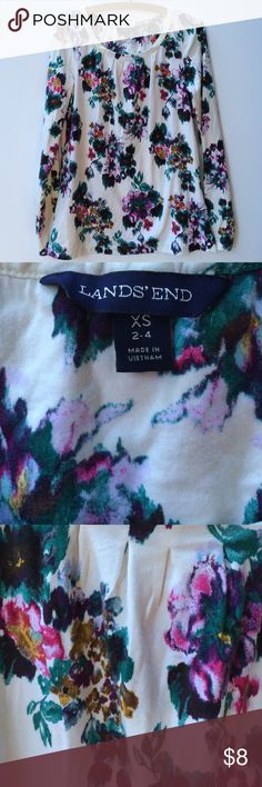 Lands' End Pleated Bib LS Knit Tee Lands' End long sleeve knit tee with pleated bib. Winter floral print with teal leaves. Lands' End Tops Tees - Long Sleeve