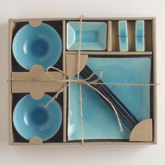 10-pc Aqua Crackle Sushi Set | World Market -- I still have hand me down plates from college, two sets of this and I'd use them as my everyday plateware