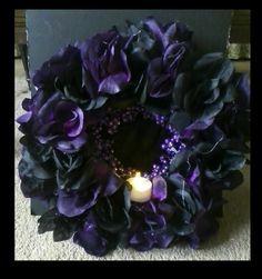 Beautiful Purple and Black Rose Halloween Wreath by DeArtePutredo