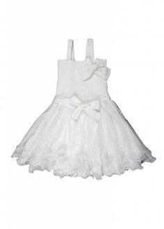 LoFff Smocked dress with net skirt White