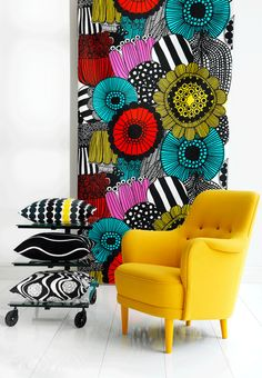josef Frank wallpaper + adorable furniture and accessories    Love this. So colorful!